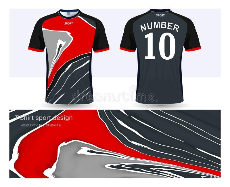 Ποδόσφαιρο Τζέρσεϋ και πρότυπο αθλητικών προτύπων μπλουζών διανυσματική απεικόνιση