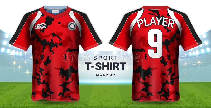 Ποδόσφαιρο Τζέρσεϋ και Sportswear πρότυπο προτύπων μπλουζών, ρεαλιστική γραφική μπροστινή και πίσω άποψη σχεδίου για τις στολές ε απεικόνιση αποθεμάτων