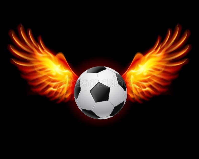 Ποδόσφαιρο-φλογερά φτερά διανυσματική απεικόνιση