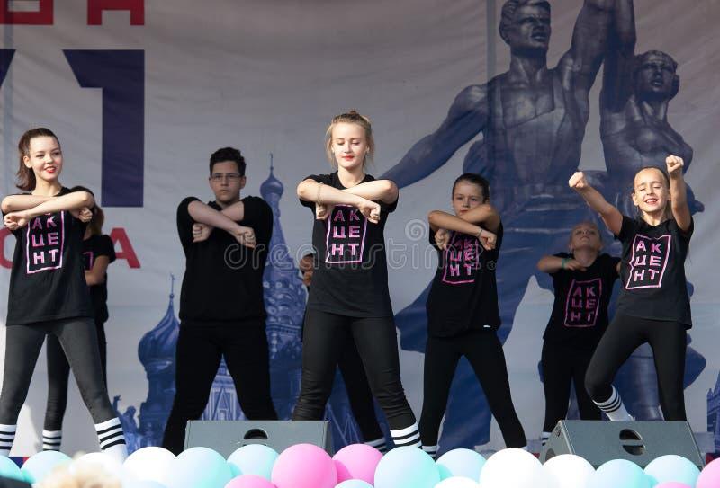 Ποιητικός χορός έμφασης στούντιο την ημέρα της πόλης της Μόσχας στοκ φωτογραφία με δικαίωμα ελεύθερης χρήσης