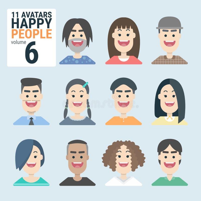 Ποικιλία-human-11-Avatars-Happy-PEOPLE-volume-6 - Άνδρας και γυναίκα για την επιχειρηματική σας εργασία ελεύθερη απεικόνιση δικαιώματος
