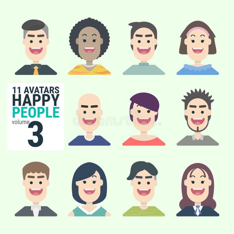 Ποικιλία-human-11-Avatars-Happy-PEOPLE-volume-3 - Μπορείτε να επιλέξετε και να χρησιμοποιήσετε εύκολα απεικόνιση αποθεμάτων