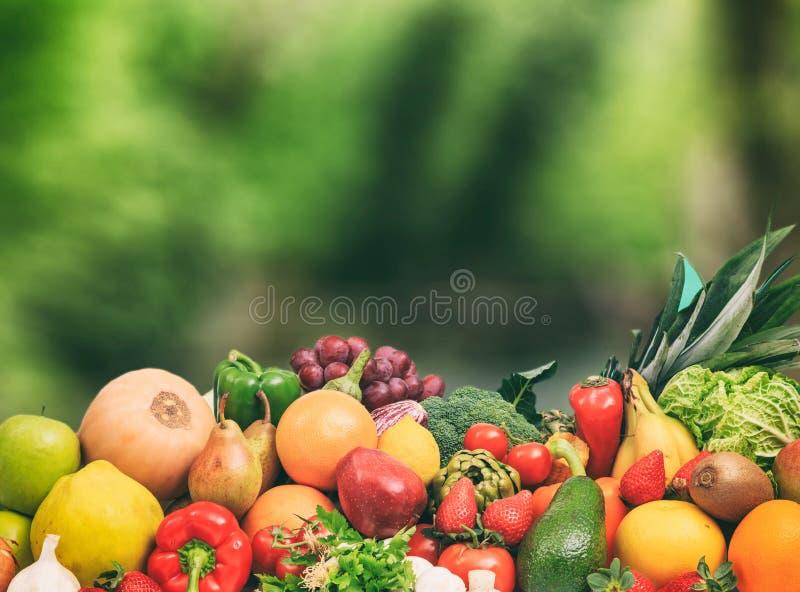 Ποικιλία των φρούτων και λαχανικών στο υπόβαθρο φύσης στοκ φωτογραφία με δικαίωμα ελεύθερης χρήσης