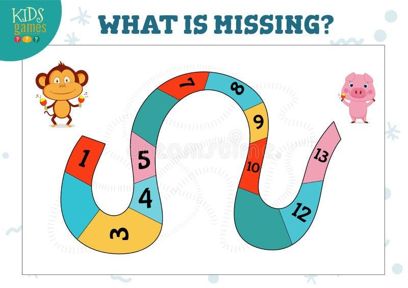 Ποιος αριθμός χάνει την προσχολική δραστηριότητα παιδιών και το εκπαιδευτικό παιχνίδι απεικόνιση αποθεμάτων
