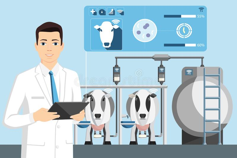 Ποιοτικός έλεγχος του γάλακτος σε ένα γαλακτοκομικό αγρόκτημα διανυσματική απεικόνιση