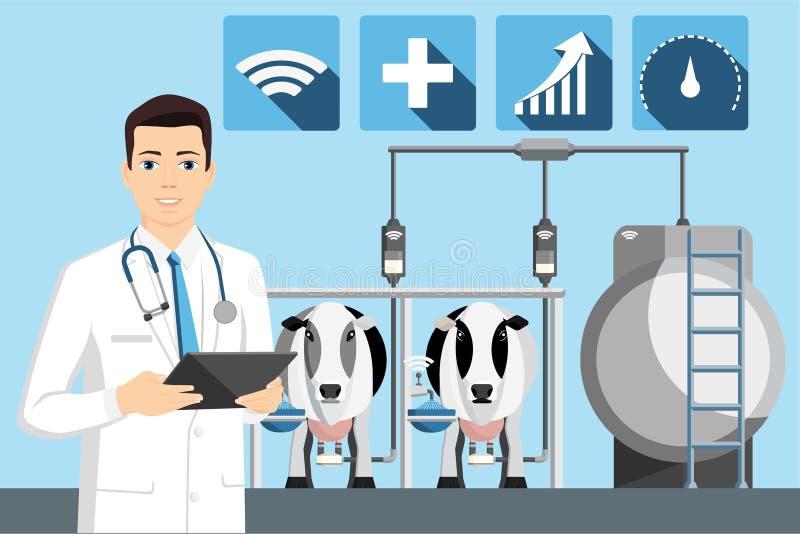 Ποιοτικός έλεγχος του γάλακτος σε ένα γαλακτοκομικό αγρόκτημα ελεύθερη απεικόνιση δικαιώματος