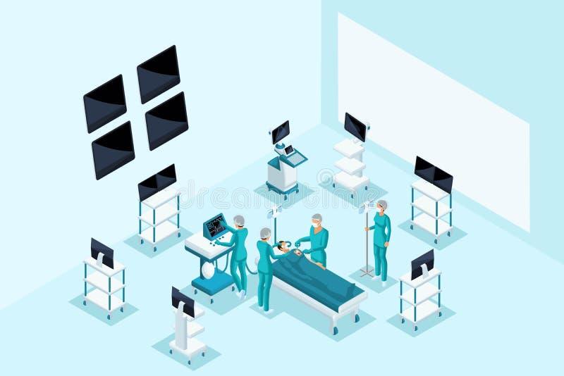Ποιοτικό Isometry, ιατρικοί χαρακτήρες, λειτουργία, surgeons do surgery στον ασθενή Η έννοια για τη διαφήμιση ελεύθερη απεικόνιση δικαιώματος