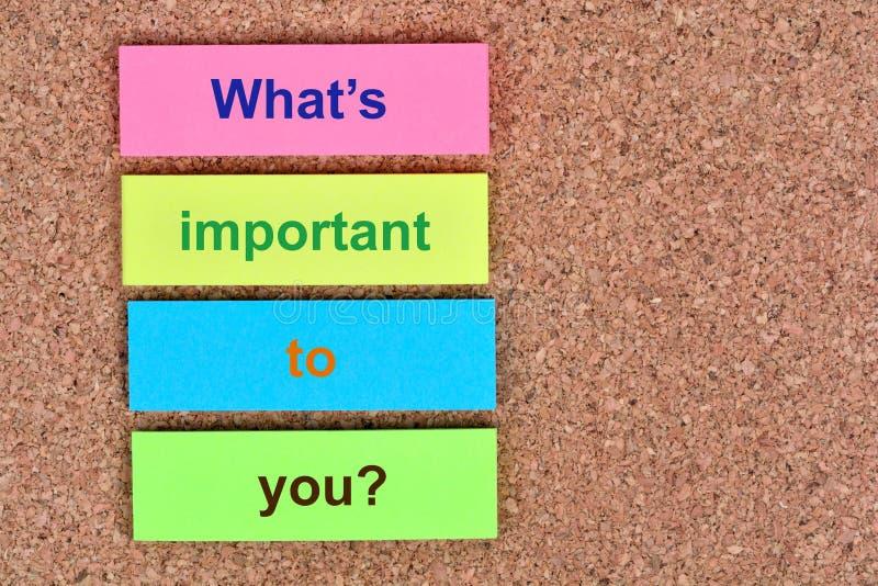 Ποιο ` s σημαντικό σε σας αμφισβητήστε στις σημειώσεις στοκ εικόνες