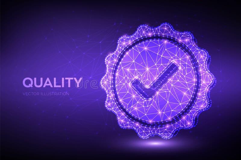 Ποιότητα Έλεγχος εικονιδίου χαμηλής πολυγωνικής ποιότητας Διασφάλιση πιστοποίησης ποιοτικού ελέγχου Εγγύηση, επιλογή ασφαλίστρων, διανυσματική απεικόνιση