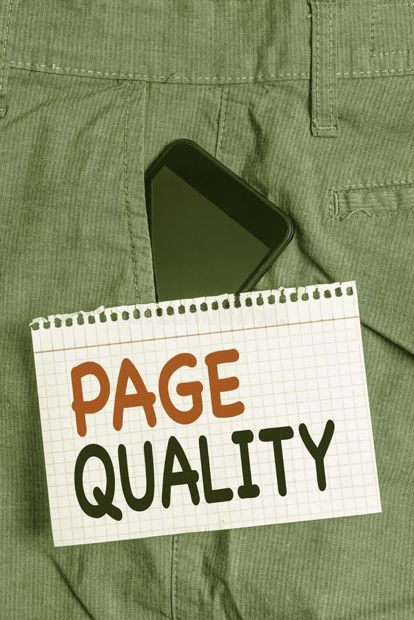 Ποιότητα σελίδας κειμένου γραφής Έννοια που σημαίνει Αποτελεσματικότητα μιας ιστοσελίδας όσον αφορά την εμφάνιση και τη λειτουργί στοκ εικόνα