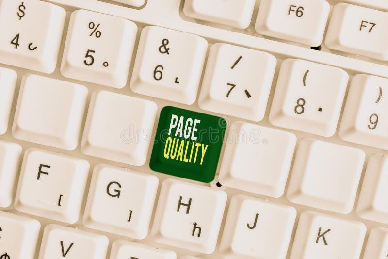Ποιότητα σελίδας κειμένου γραφής Έννοια που σημαίνει Αποτελεσματικότητα μιας ιστοσελίδας όσον αφορά την εμφάνιση και τη λειτουργί στοκ εικόνες με δικαίωμα ελεύθερης χρήσης