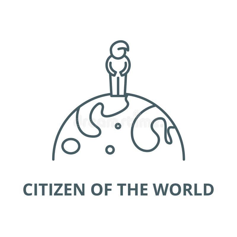 Πολίτης του εικονιδίου παγκόσμιων διανυσματικού γραμμών, γραμμική έννοια, σημάδι περιλήψεων, σύμβολο ελεύθερη απεικόνιση δικαιώματος