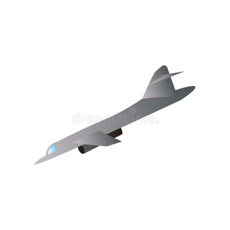 Πολεμική μηχανή αεροπλάνων, γκρίζο χρώμα, έξοχο αεριωθούμενο στοιχείο διανυσματική απεικόνιση