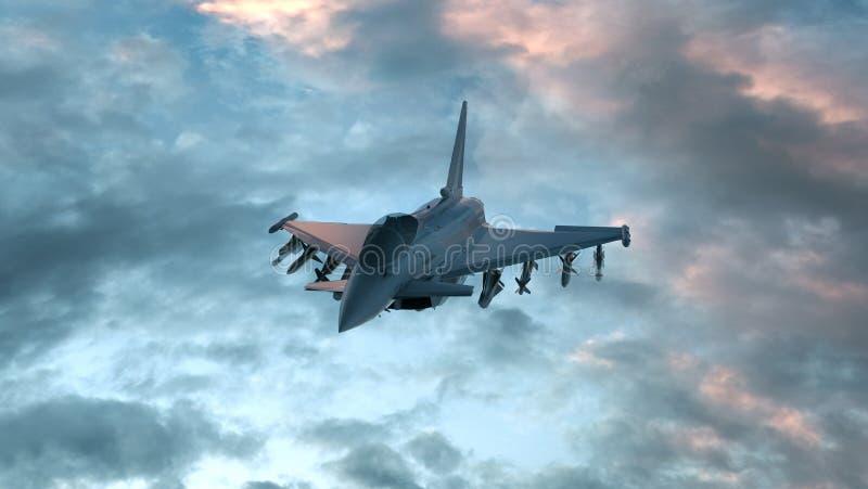 Πολεμικό τζετ στο βαθύ μπλε νυχτερινό ουρανό τρισδιάστατος δώστε απεικόνιση αποθεμάτων
