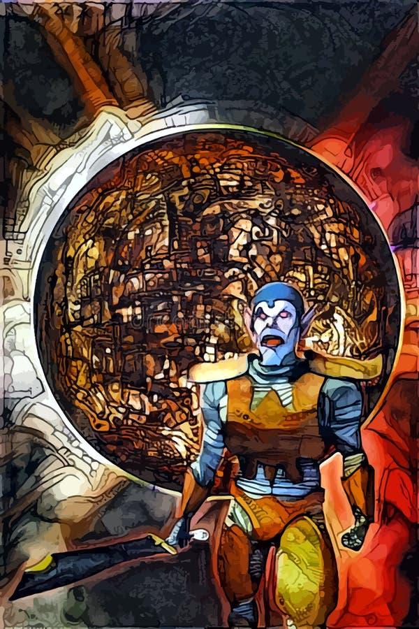 Πολεμιστής φαντασίας orc που χρωματίζεται διανυσματική απεικόνιση