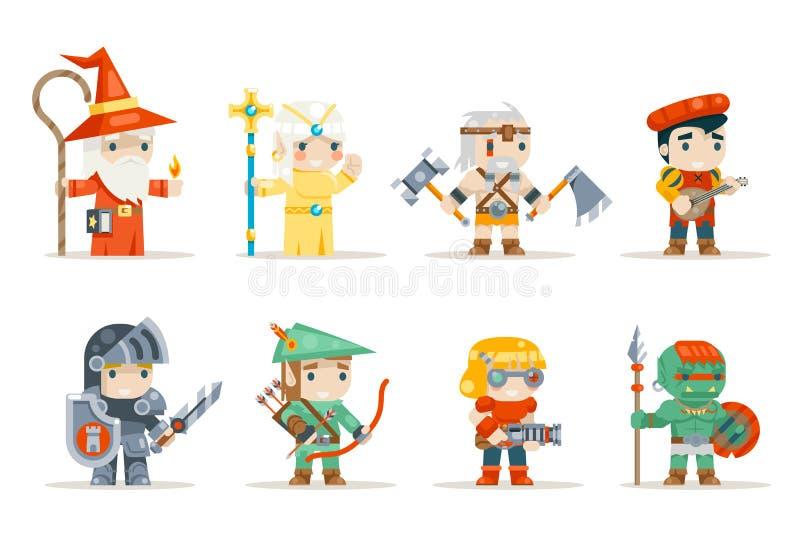 Πολεμιστών mage νεραιδών ιερέων τοξοτών βάρβαροι berseker χαρακτήρες παιχνιδιών φαντασίας RPG τουφεκιοφόρων εφευρετών μηχανικών o ελεύθερη απεικόνιση δικαιώματος