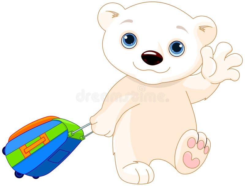 Πολική αρκούδα με μια βαλίτσα ελεύθερη απεικόνιση δικαιώματος