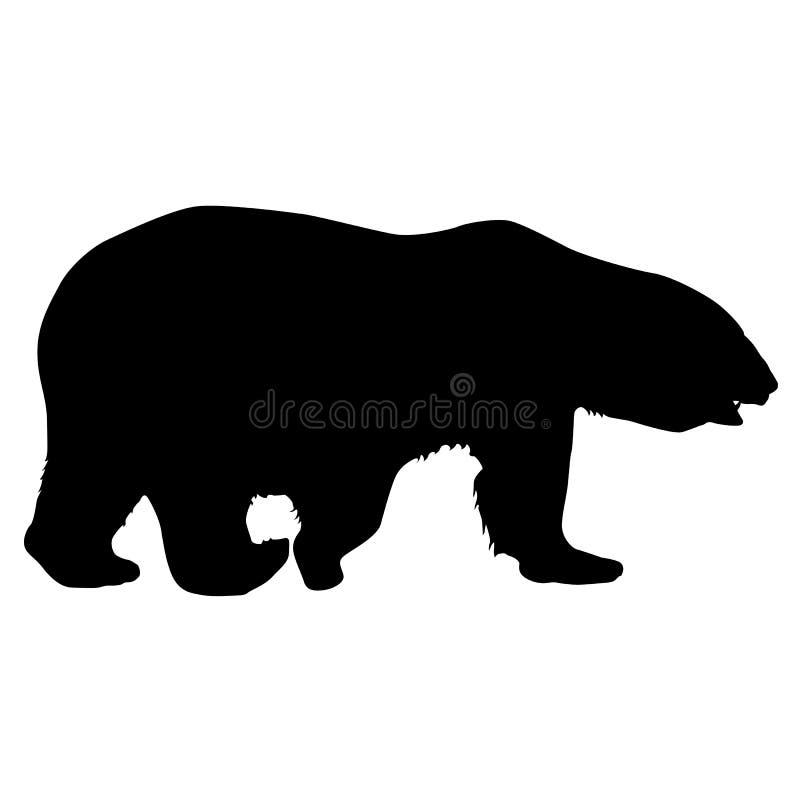 Πολική αρκούδα σκιαγραφιών σε ένα άσπρο υπόβαθρο διανυσματική απεικόνιση