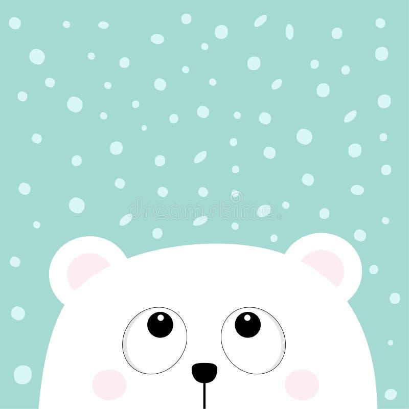 Πολικός άσπρος λίγα μικρά αντέχει cub το επικεφαλής πρόσωπο ανατρέχοντας στη νιφάδα χιονιού ελεύθερη απεικόνιση δικαιώματος