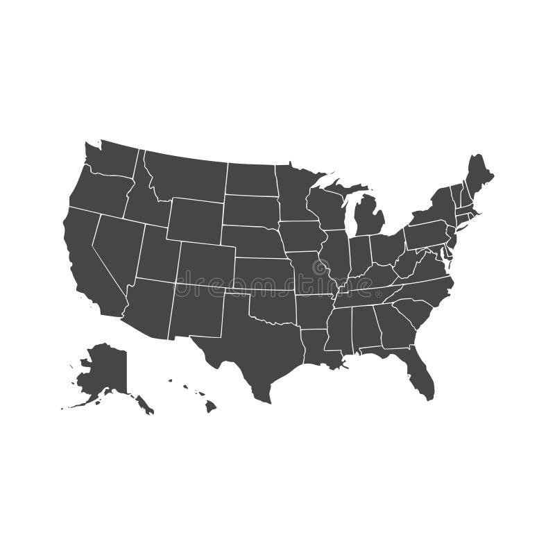 Πολιτεία του αμερικανικού χάρτη διανυσματική απεικόνιση