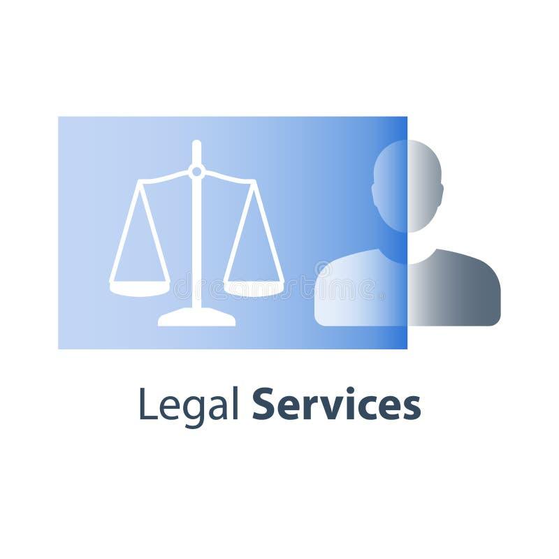 Πολιτικά δικαιώματα, νομικές υπηρεσίες, έννοια δικαιοσύνης, εκπαίδευση νόμου, συμβουλές δικηγόρων, βοήθεια και καθοδήγηση διανυσματική απεικόνιση