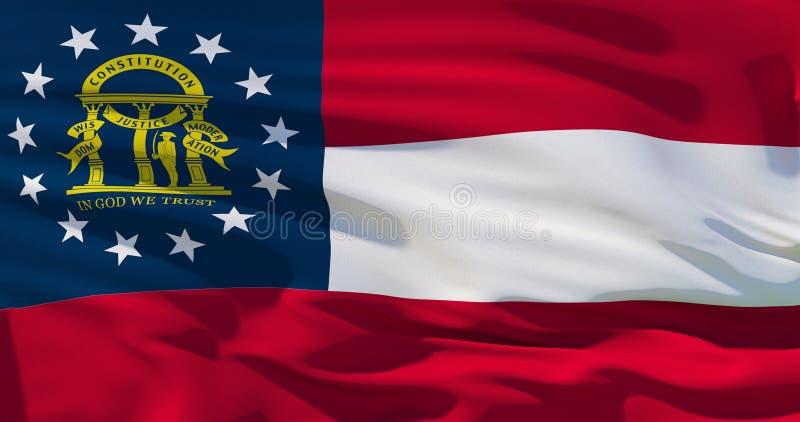 Πολιτική αμερικανικού κράτους ή επιχειρησιακή έννοια: Σημαία της Γεωργίας, σύσταση υποβάθρου, τρισδιάστατη απεικόνιση ελεύθερη απεικόνιση δικαιώματος