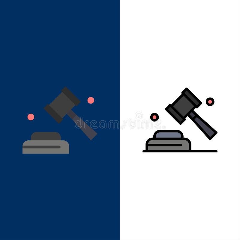 Πολιτική, νόμος, εκστρατεία, εικονίδια ψηφοφορίας Επίπεδος και γραμμή γέμισε το καθορισμένο διανυσματικό μπλε υπόβαθρο εικονιδίων διανυσματική απεικόνιση