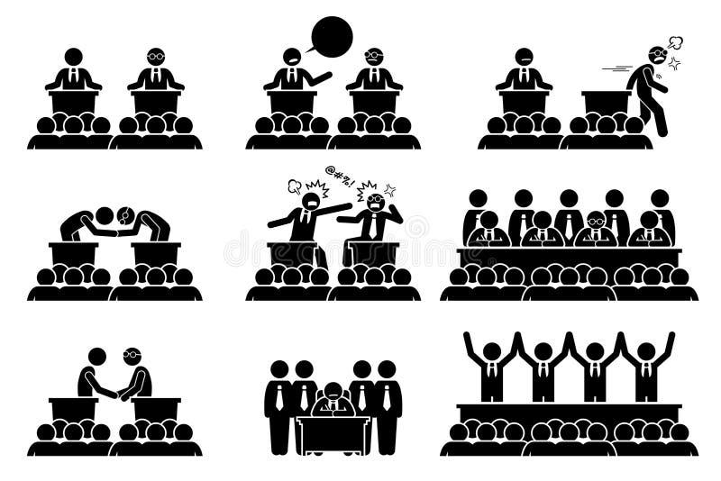 Πολιτικοί, Πρόεδρος ή πρωθυπουργοί που συζητούν, που παλεύουν και που συμφωνούν σχετικά με εθνικό και τα διεθνή ζητήματα cliparts απεικόνιση αποθεμάτων