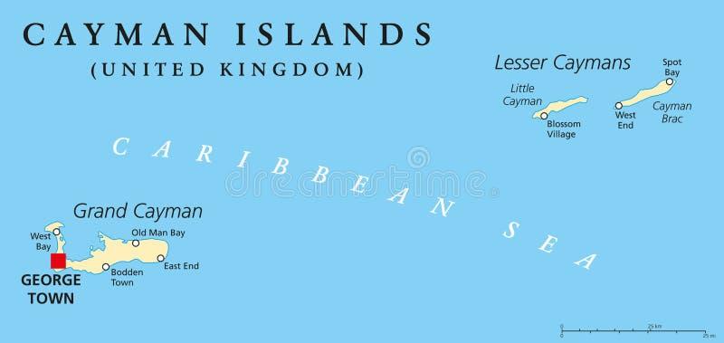 Πολιτικός χάρτης νησιών Κέιμαν διανυσματική απεικόνιση