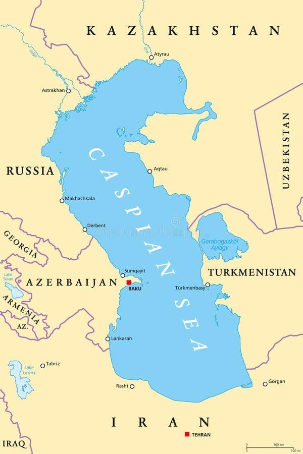 Πολιτικός χάρτης περιοχών Κασπιών Θάλασσα ελεύθερη απεικόνιση δικαιώματος