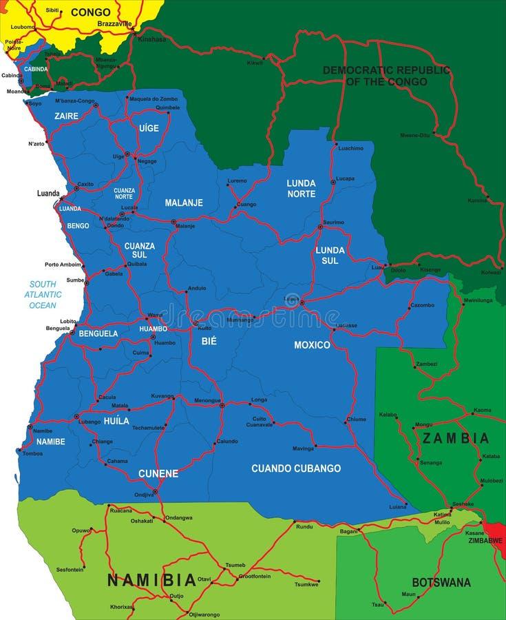 Πολιτικός χάρτης της Ανγκόλα ελεύθερη απεικόνιση δικαιώματος