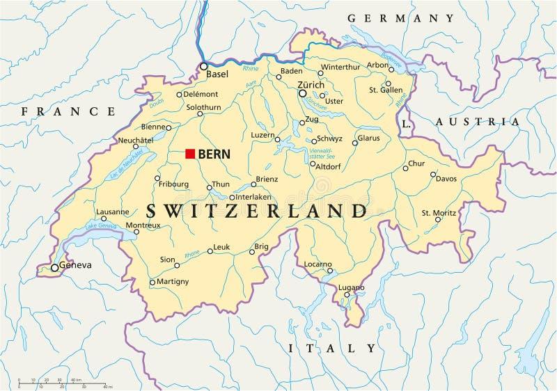 Πολιτικός χάρτης της Ελβετίας ελεύθερη απεικόνιση δικαιώματος