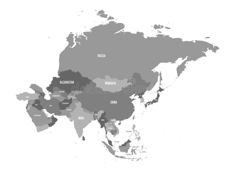 Πολιτικός χάρτης της ηπείρου της Ασίας στις σκιές του γκρι επίσης corel σύρετε το διάνυσμα απεικόνισης διανυσματική απεικόνιση