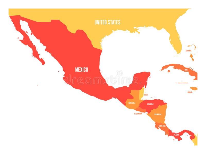 Πολιτικός χάρτης της Κεντρικής Αμερικής και του Μεξικού σε τέσσερις σκιές του πορτοκαλιού Απλή επίπεδη διανυσματική απεικόνιση ελεύθερη απεικόνιση δικαιώματος