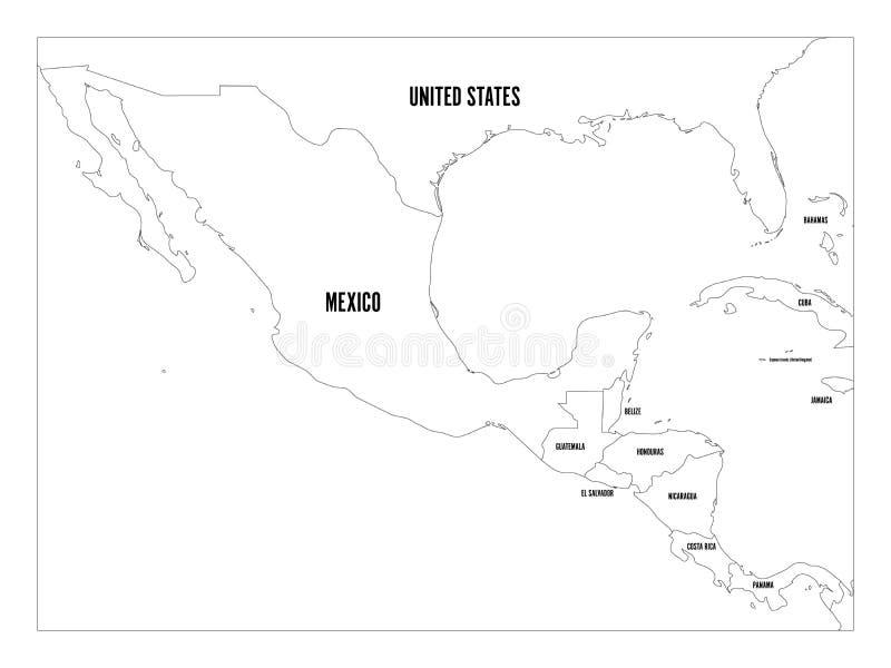 Πολιτικός χάρτης της Κεντρικής Αμερικής και του Μεξικού σε τέσσερις σκιές πράσινου Απλή λεπτή μαύρη διανυσματική απεικόνιση περιλ ελεύθερη απεικόνιση δικαιώματος