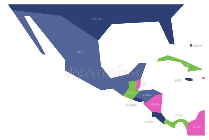 Πολιτικός χάρτης του Μεξικού και κεντρικού Amercia Σχηματικός επίπεδος διανυσματικός χάρτης Simlified στο χρώμα σχεδίου τέσσερα απεικόνιση αποθεμάτων