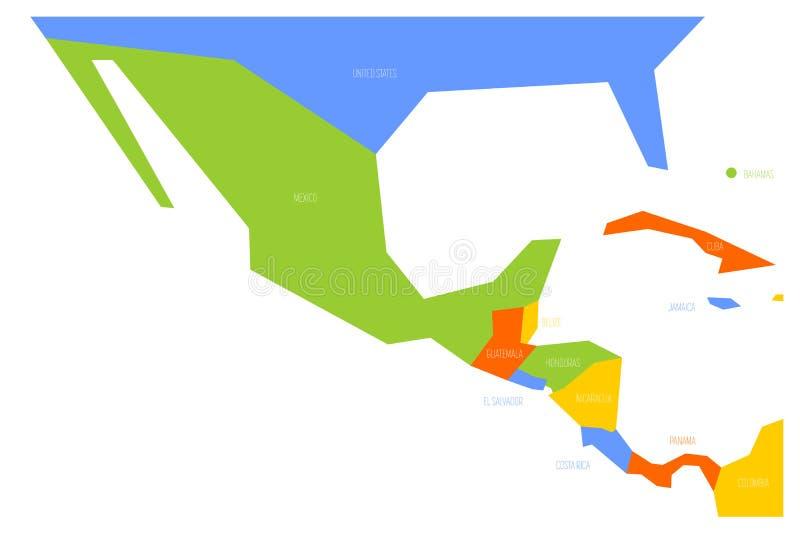 Πολιτικός χάρτης του Μεξικού και κεντρικού Amercia Σχηματικός επίπεδος διανυσματικός χάρτης Simlified στο χρώμα σχεδίου τέσσερα ελεύθερη απεικόνιση δικαιώματος