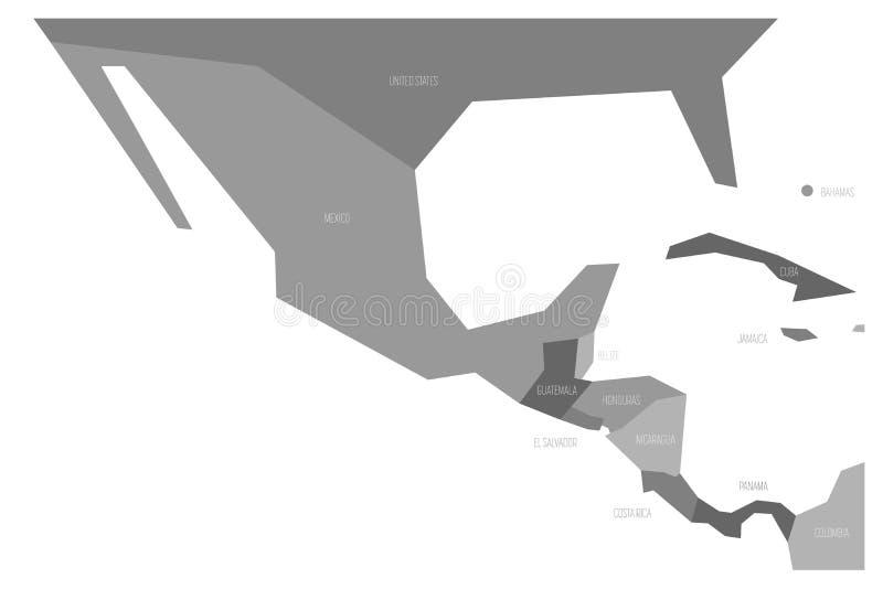 Πολιτικός χάρτης του Μεξικού και κεντρικού Amercia Σχηματικός επίπεδος διανυσματικός χάρτης Simlified σε τέσσερις σκιές του γκρι διανυσματική απεικόνιση