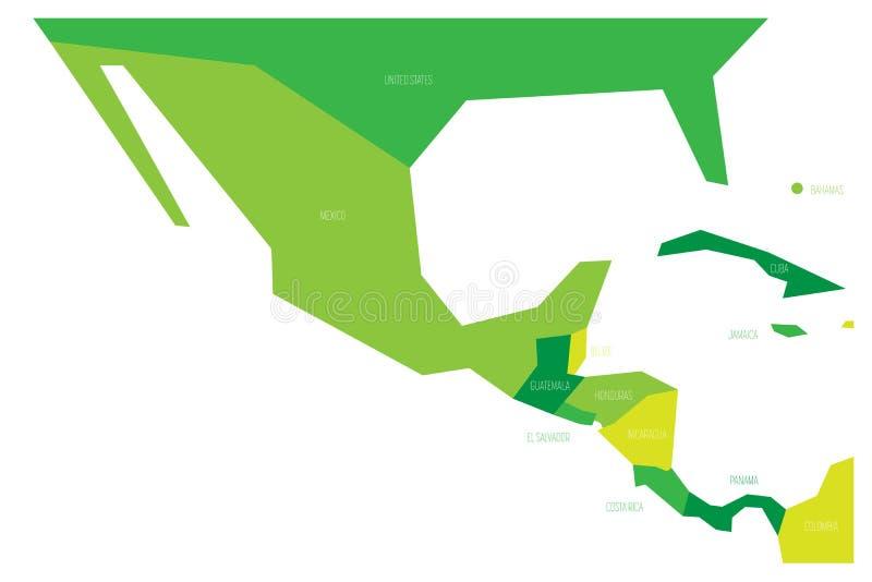 Πολιτικός χάρτης του Μεξικού και κεντρικού Amercia Σχηματικός επίπεδος διανυσματικός χάρτης Simlified σε τέσσερις σκιές πράσινου απεικόνιση αποθεμάτων