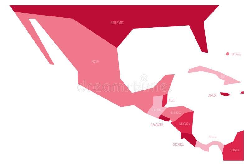Πολιτικός χάρτης του Μεξικού και κεντρικού Amercia Σχηματικός επίπεδος διανυσματικός χάρτης Simlified σε τέσσερις σκιές του ροζ ελεύθερη απεικόνιση δικαιώματος