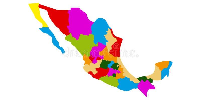 Πολιτικός χάρτης του Μεξικού ελεύθερη απεικόνιση δικαιώματος
