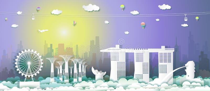 Πολιτισμός αρχιτεκτονικής Σινγκαπούρης ταξιδιού στις άμμους κόλπων μαρινών απεικόνιση αποθεμάτων