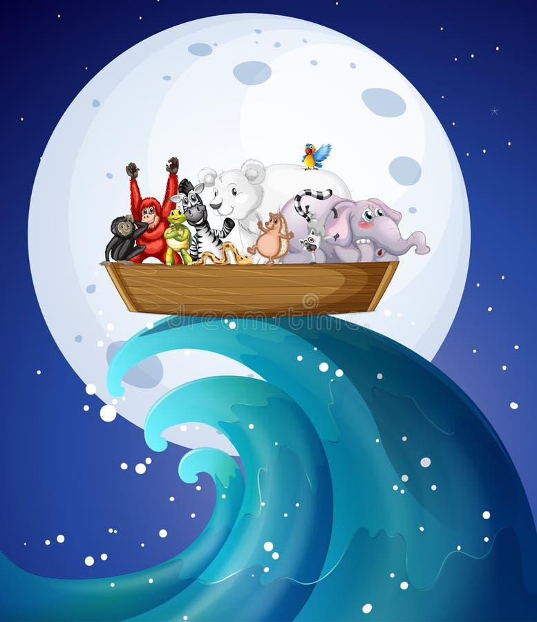 Πολλά άγρια ζώα στη βάρκα τη νύχτα ελεύθερη απεικόνιση δικαιώματος