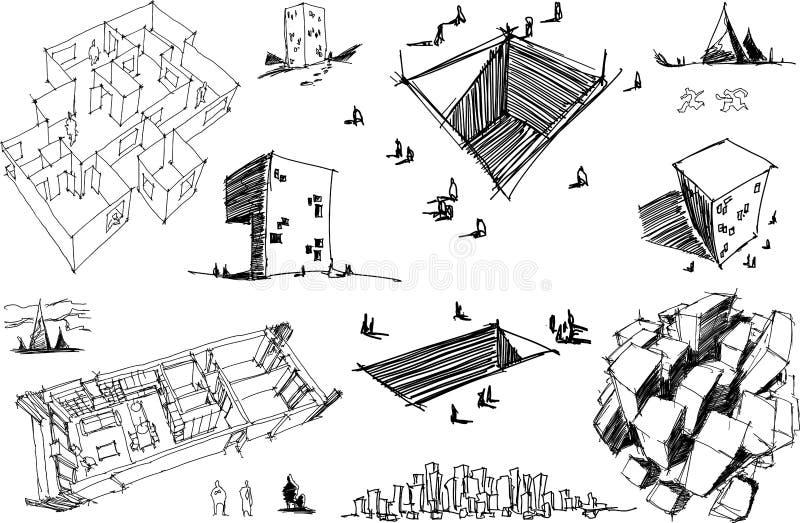 Πολλά αρχιτεκτονικά σκίτσα μιας σύγχρονης αφηρημένης αρχιτεκτονικής και γεωμετρικών αντικειμένων ελεύθερη απεικόνιση δικαιώματος