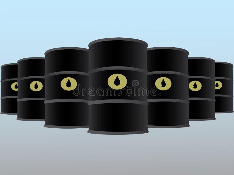 Πολλά βαρέλια πετρελαίου τακτοποίησαν στις σειρές τη διανυσματική απεικόνιση για την επιχειρησιακή βιομηχανία στο ελαφρύ υπόβαθρο διανυσματική απεικόνιση