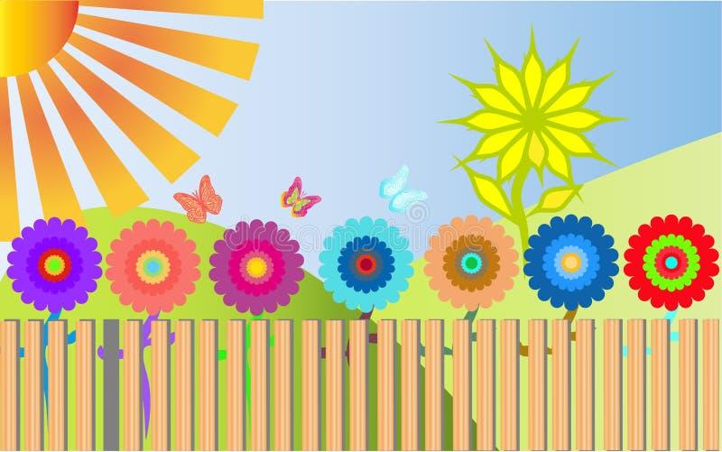 Πολλά ζωηρόχρωμα, φωτεινά, ετερόκλητα λουλούδια αυξάνονται πίσω από έναν ξύλινο απεικόνιση αποθεμάτων