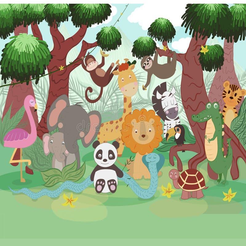 Πολλά ζώα στο δέντρο και τις εγκαταστάσεις ελεύθερη απεικόνιση δικαιώματος