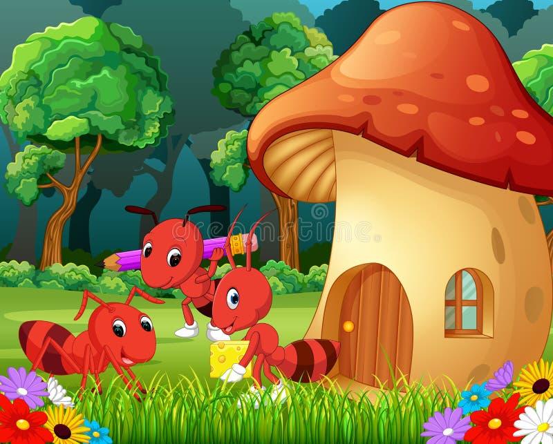 Πολλά μυρμήγκια και ένα σπίτι μανιταριών στο δάσος διανυσματική απεικόνιση