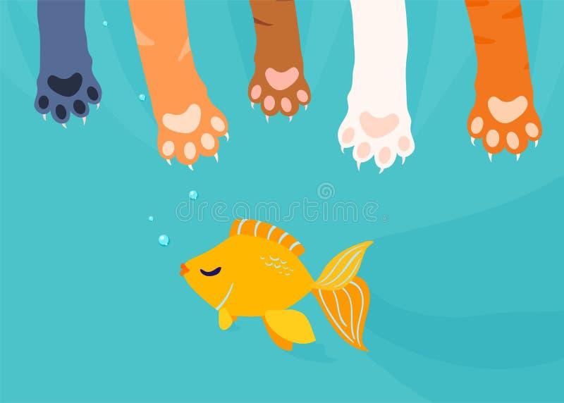 Πολλά πόδια γατών πιάνουν, αλιεύοντας τα χρυσά ψάρια κάτω από το υπόβαθρο νερού Διανυσματική απεικόνιση κινούμενων σχεδίων διασκέ διανυσματική απεικόνιση