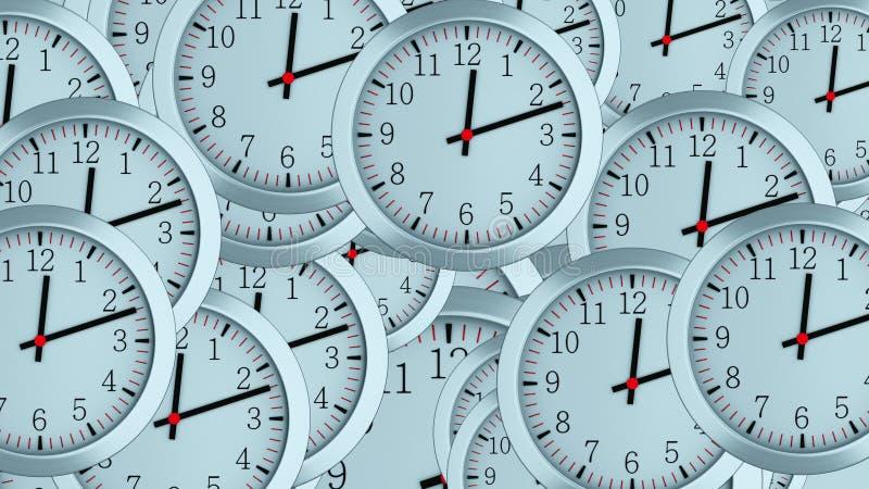 Πολλά τρισδιάστατα απλά ρολόγια με τα δεύτερου και μικρού βέλη ώρας, υπολογιστής παρήγαγαν το σύγχρονο επιχειρησιακό σκηνικό στοκ φωτογραφία με δικαίωμα ελεύθερης χρήσης